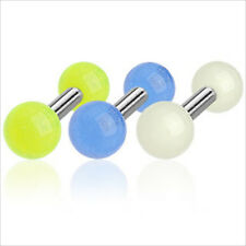 """1 PC 16g 1/4"""" Barbell Ear Cartilage Tragus Earring Stud Glow In the Dark White"""