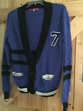"""Blue Sporty Cardigan By River Island Size 8 Blue Black No 7 Contrast Chest 36"""" +"""