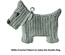 Vintage crochet pattern-how to make a flat 1940s Scottie Dog,tree decoration etc
