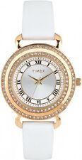NEW TIMEX ROSE GOLD TONE,WHITE LEATHER BAND,CRYSTAL PAVE,ROMAN #'S WATCH T2P230
