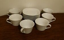The Palm Restaurant Classic Simple White Square Saucer and Cup Coffee Tea Set