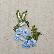Embroidered Patch - Iron on Applique Blue Hummingbird Flower Facing Right