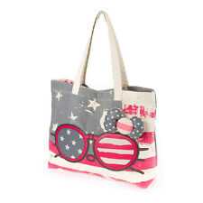 Hello Kitty Americana Sunglasses Canvas Tote Bag Purse Handbag Sanrio Stars NWT