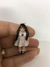Miniature Tiny Dolls, Doll, Pink And White Dress, OOAK, B Justice