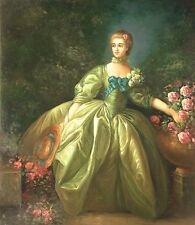 """24""""x20"""" Oil Painting on Canvas, Young Lady in a Green Dress"""