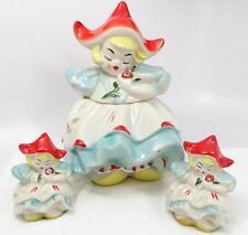 Rare Vintage Regal China Dutch Girl Cookie Jar & Salt & Pepper Shaker Set