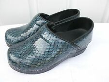 Women's Sanita Professional Blue Snakeskin Leather Slip-on Clog Shoes 35 5