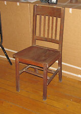 ANTIQUE MISSION OAK SIDE CHAIR WITH 1 BROKEN DOWEL 5990
