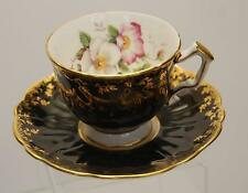 ANTIQUE AYNSLEY Black Gilded Floral Bone China Cup + Saucer_Stamped_England