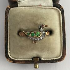 A Novelty Old Cut Diamond & Demantoid Green Garnet Duck Ring Circa 1800's
