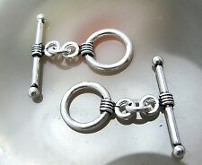 2 Bali Sterling Silver Fancy Toggle Clasps  #871