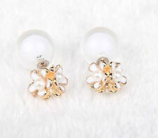 DOUBLE CLEAR BUBBLE BALL GLASS WHITE DAISY PEARL FLOWER STUD EAR PLUG  EARRINGS