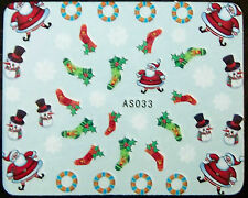 Weihnachten, Xmas Water Nail Sticker Tatoo No. AS033  - gespiegelt