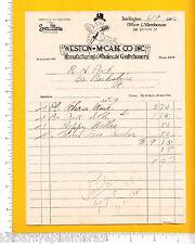 7380 Weston, McCabe candy 1926 billhead Burlington, VT Sam Man Chocolate, cupid