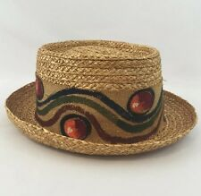 Vintage Straw Hat Fedora 56 Size 7 Italy Burlap Head Band w/ Colorful Design