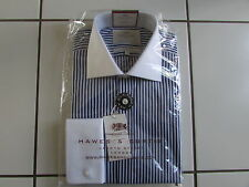 Hawes Curtis Shirt 15.5/35 Navy/White Multi Stripe Contrast Collar Cuff Tailored