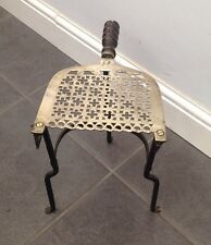 ANTIQUE EARLY 19th century 3 LEGS BRASS / IRON FIRESIDE KETTLE STAND TRIVET
