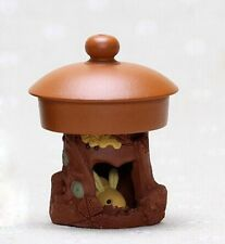Chinese Yixing zisha tea pet pot lid holder rabbit in the tree hole tea mascots