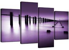 Large Purple Bedroom Landscape Canvas Wall Art Pictures XL Prints 4086