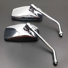 10mm Chrome Motorcycle Rectangle Side Mirror for Honda Kawasaki Suzuki Cruiser