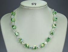 "Pretty green & clear cubed crystal necklace, silver ball spacers, chain 19"" + 2"