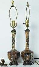 Antique Meiji Period Pair of Japanese Kyoto Cloisonne Table Lamps