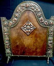 LOVELY ORNATE ARTS &  CRAFTS COPPER AND BRONZE FIRESCREEN WITH FLORAL DESIGN