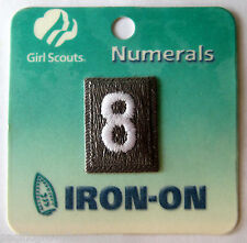 Girl Scout BROWNIE UNIFORM PATCH - NUMBER EIGHT #8 Brown Troop Numeral Iron-On