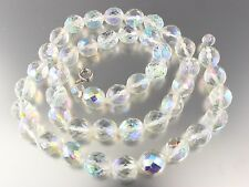 VINTAGE CLEAR AURORA BOREALIS CRYSTAL GLASS BEAD NECKLACE