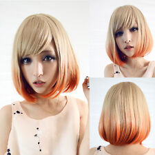Womens Short Straight Full Wig Lolita Style Blonde Orange Ombre Costume Bob Hair