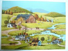Early Sunrise Farm Art Painting Signed H Evans. Country Farm Town Setting