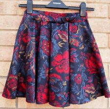 PRIMARK BLACK BLUE RED FLORAL FOLK VINTAGE SKATER FLIPPY A LINE FULL SKIRT 8 S