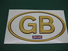1 GB OVAL Bronze Effect DOME CAR STICKER with Union Flag 130mm X 72mm