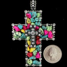Western Cowgirl Vintage Silver Rhinestone Multicolor Turquoise Cross Pendant