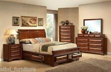 Oak King Storage Sleigh Platform Bed Set Furniture