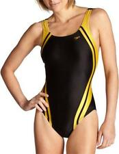 Speedo Quantum Spliced Racing Lycra Swim Suit Swimming Wear Women Black Gold 34