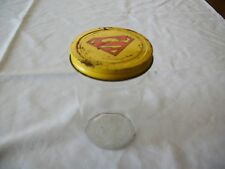 Vintage Antique Glass DC Comics 1944 Super Man Peanut Butter Jar & Lid