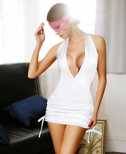 White Deep Plunge Micro Mini Dress Babydoll Adjustable Tie Sides Skirt G-String