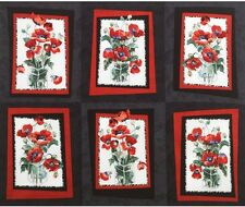 3 Yards Quilt Cotton Fabric - Timeless Treasures Fresh Cut Poppies Patch Panel