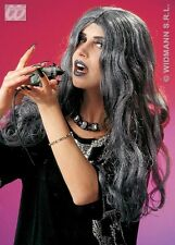 Ladies Long Grey Crudell Wig Horror Halloween Witch Vampire Morticia Fancy Dres
