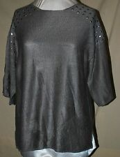 KATE & MALLORY GARTER STITCH KNIT SWEATER WITH STUDS SHOULDERS GRAY 1X WIDE SLEE