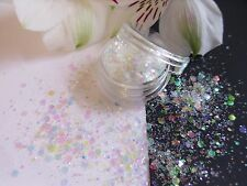 Nail Art Chunky *FroSt* White Colour Change Hexagon Glitter Spangle Mix Pot Tips