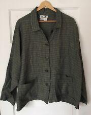 Flax Women's Blouse L 100% Linen Long Sleeve Button Down Top Pockets Blue Green