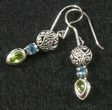 Green Peridot Sky Blue Topaz .925 Sterling Silver Filigree Earrings Hook Earwire