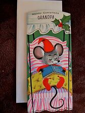 Vintage Christmas Card UNUSED Gibson For Grandpa Mouse Sleeping in Canopy Bed