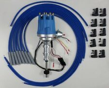 FORD Y Block 239-256-272-292-312 BLUE Small HEI Distributor + Spark Plug Wires