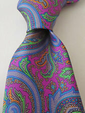 NWT ALTEA Multicolor Paisley Prints Smooth Silk Tie Italy $100