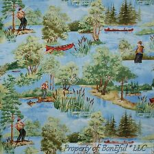 BonEful Fabric FQ Cotton Quilt Blue Green Tree Men Fish Scenic Water Canoe Lake