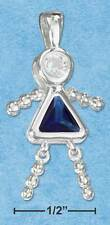 STERLING SILVER PENDANT SEPTEMBER BIRTHSTONE GIRL WITH A FREE NEW NECKLACE