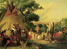 The Indian Council by Seth Eastman Native American Indians Chief Teepee 13x17